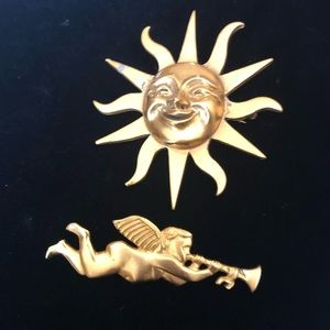 Whimsical Sun and Pretty Angel Brooches
